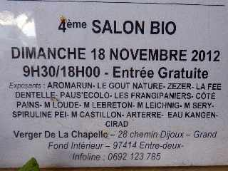 Salon bio au verger de la Chapelle le 18 novembre 2012